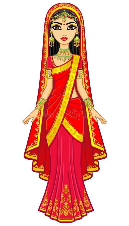 亚洲秀丽 年轻印地安女孩的动画画象传统衣裳的 童话公主 皇族释放例证