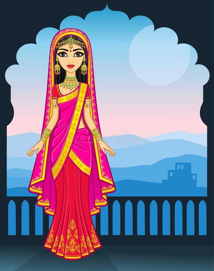 亚洲秀丽 年轻印地安女孩的动画画象传统衣裳的 童话公主 向量例证