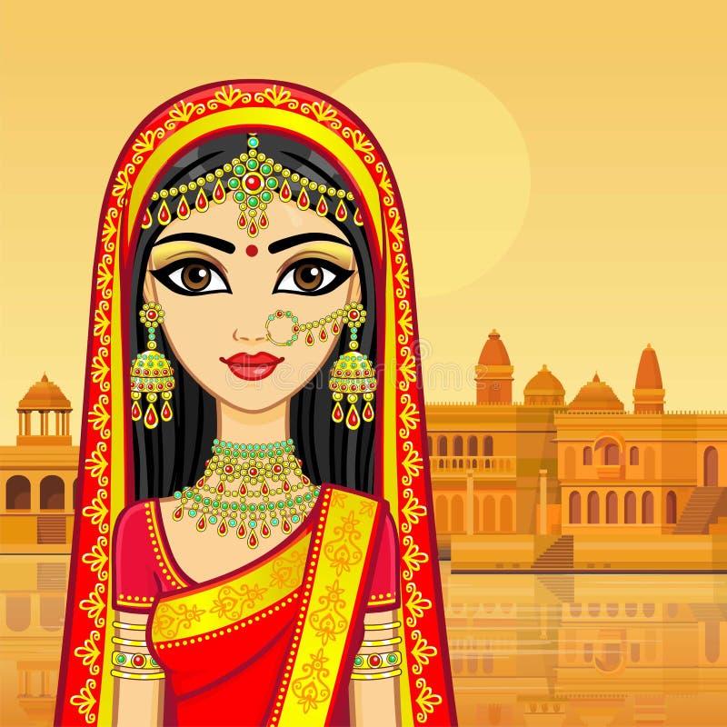 亚洲秀丽 年轻印地安女孩的动画画象传统衣裳的 皇族释放例证