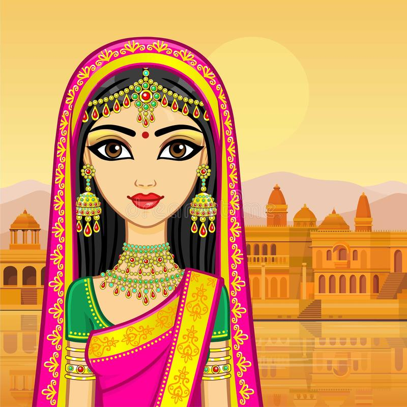 亚洲秀丽 年轻印地安女孩的动画画象传统衣裳的 库存例证