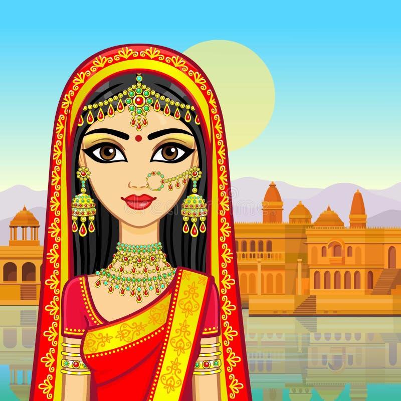 亚洲秀丽 年轻印地安女孩的动画画象传统衣裳的 向量例证