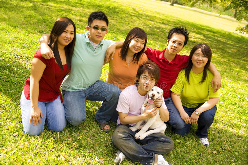 亚洲组愉快的十几岁 库存图片