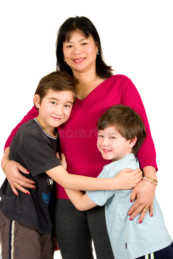 亚洲美丽她的夫人儿子二 库存图片