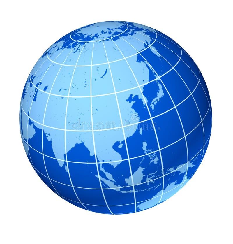 亚洲蓝色地球地球 向量例证