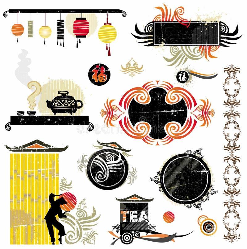 亚洲设计要素 向量例证