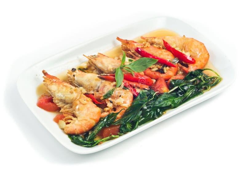 亚洲辣椒油煎的虾混乱样式 免版税库存图片