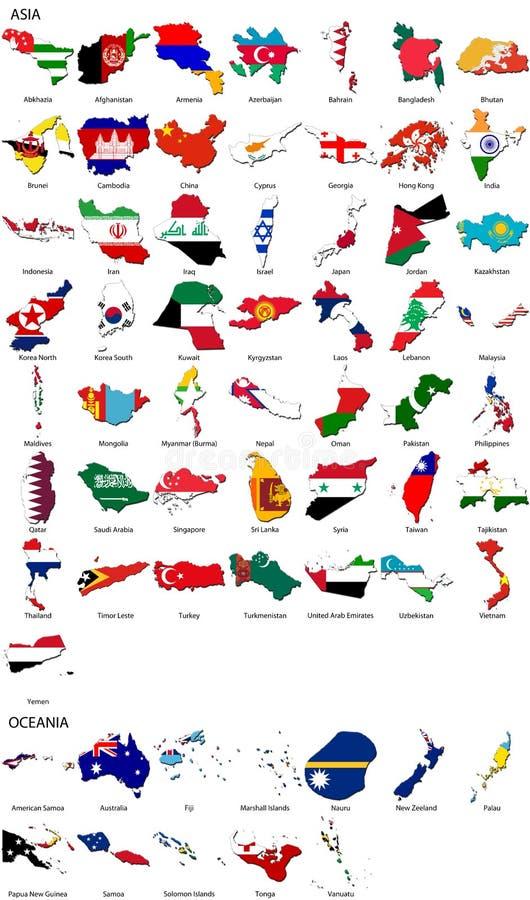 亚洲边界国旗大洋洲集合世界 皇族释放例证