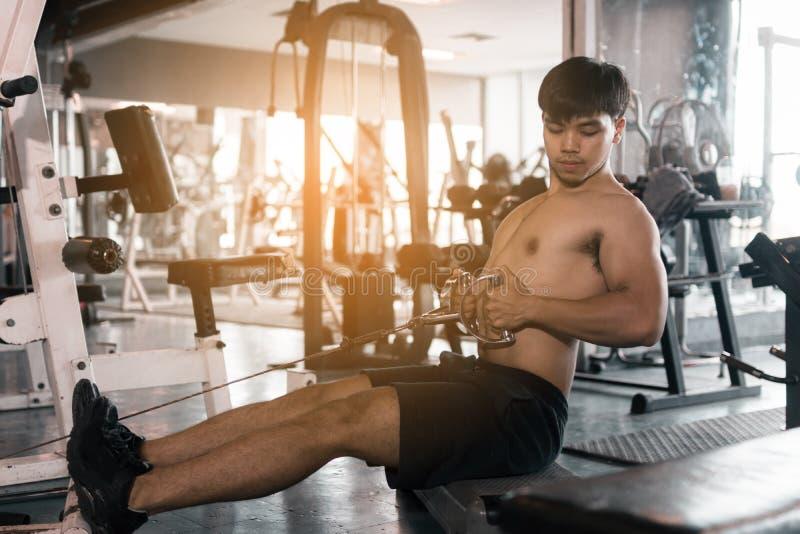 亚洲运动员拉扯为修造的肌肉仍然衡量在室内 库存照片