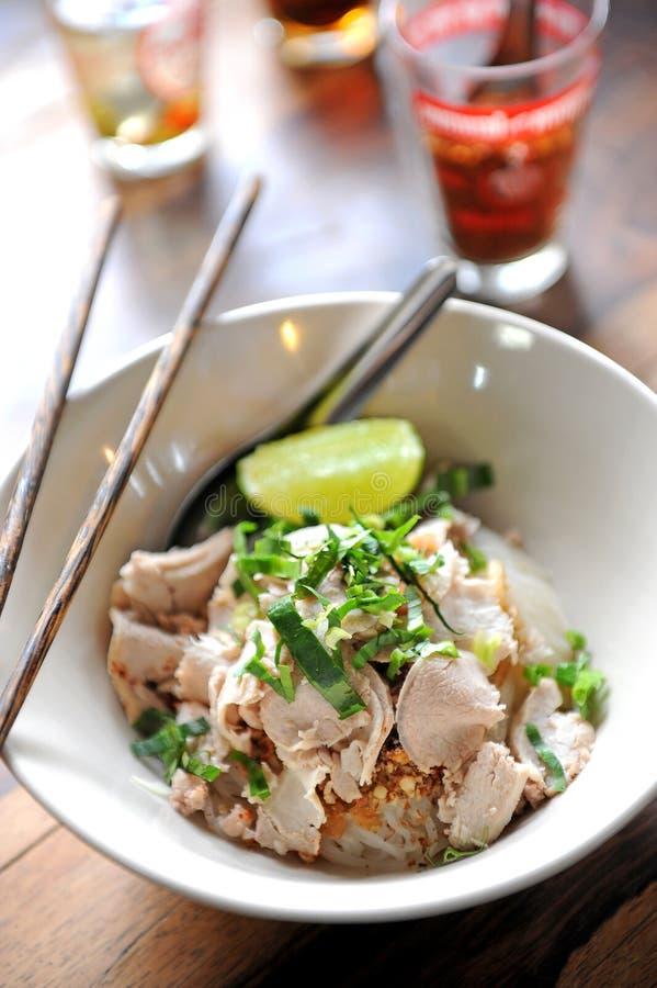 亚洲面条猪肉样式 免版税图库摄影
