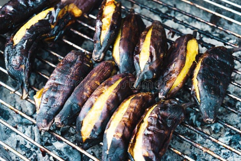 亚洲食物烤香蕉 免版税库存照片