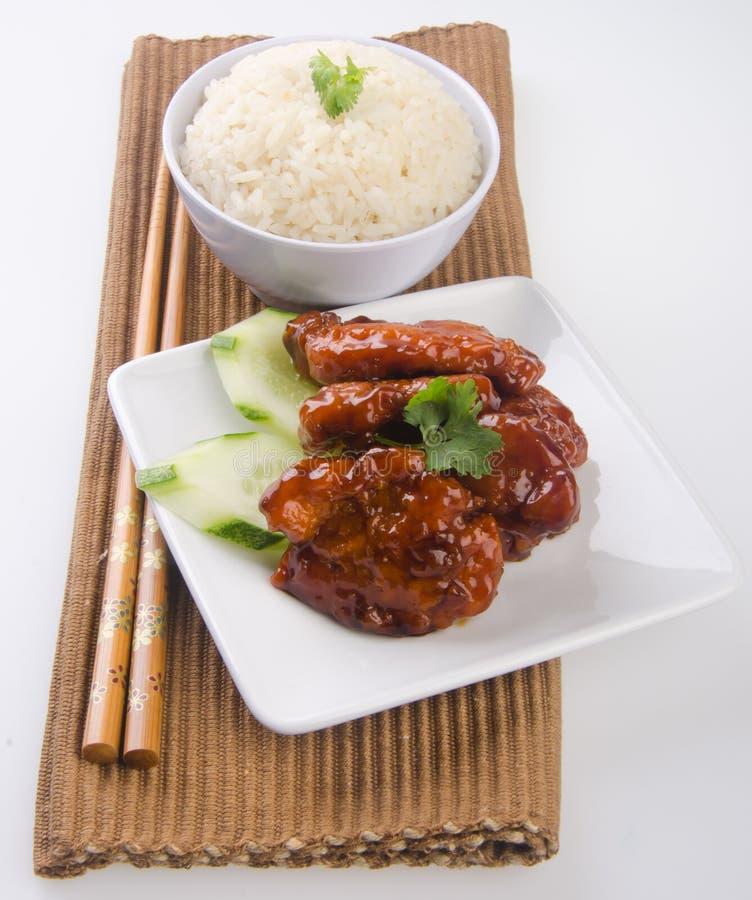 亚洲食物猪肉米酸甜点 免版税图库摄影