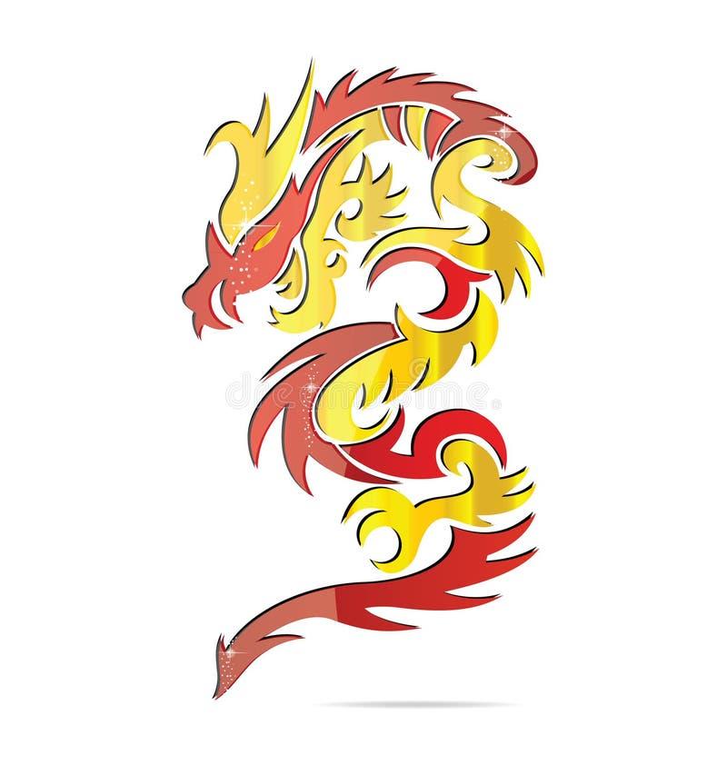 亚洲龙火发光的符号 皇族释放例证