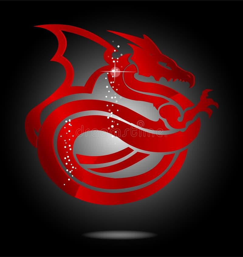 亚洲龙玻璃魔术红色符号 皇族释放例证