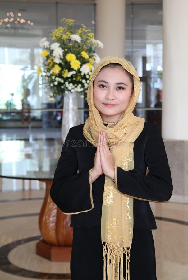 亚洲gusture穆斯林欢迎 图库摄影