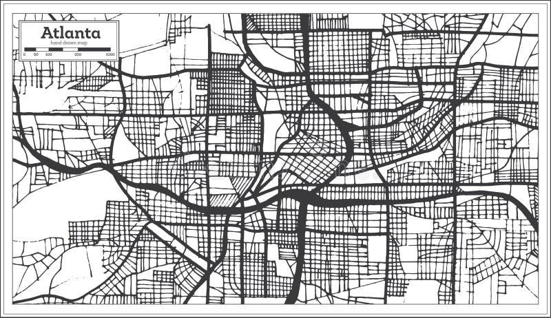 亚特兰大乔治亚美国在减速火箭的样式黑白科洛火山的市地图 向量例证