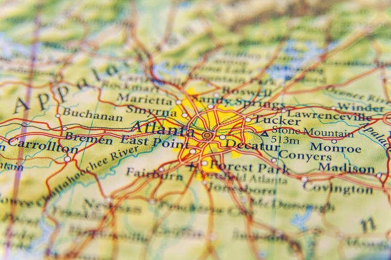 亚特兰大关闭地理地图  库存照片