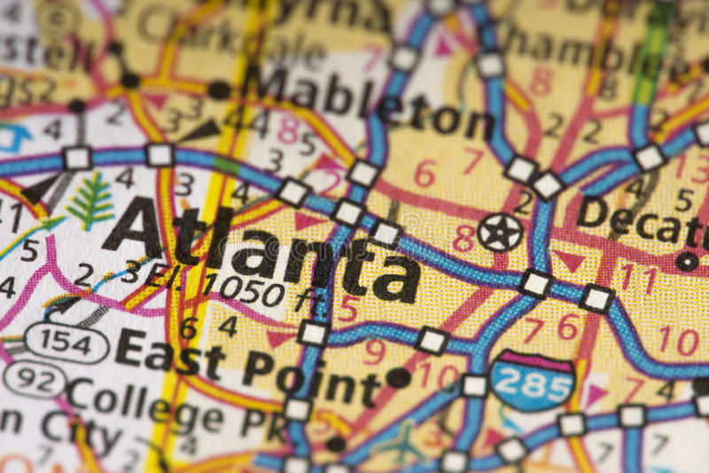 亚特兰大,地图的乔治亚 库存图片