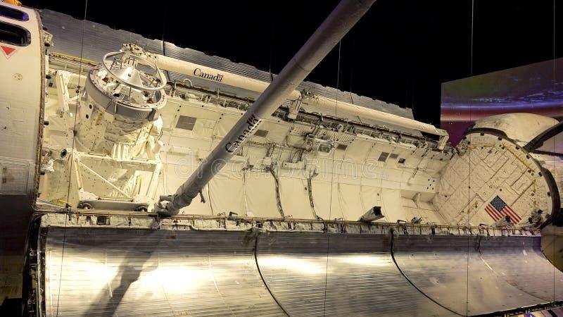 亚特兰提斯号太空梭货舱在肯尼迪航天中心的C的 库存图片