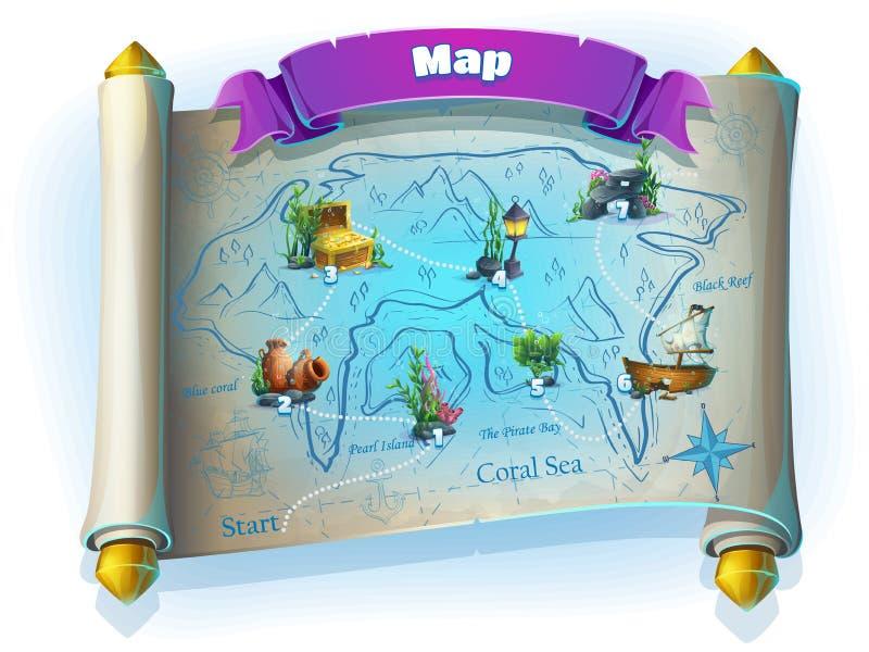亚特兰提斯破坏GUI -在白色背景的平实比赛地图 向量例证