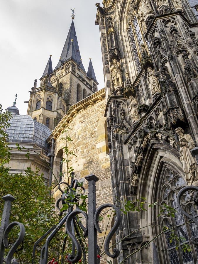 亚琛主教座堂,德国,外部部份看法 库存图片