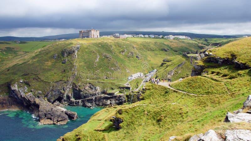 亚瑟王的城堡废墟Tintagel概要  库存图片