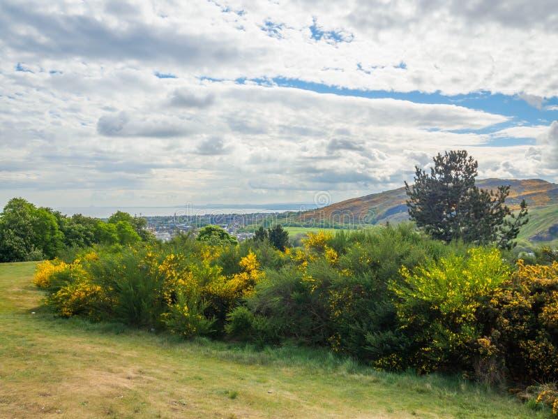 亚瑟的位子美丽的景色在爱丁堡,苏格兰,从卡尔顿山的英国 免版税库存照片