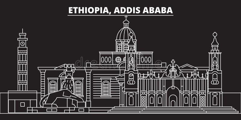 亚的斯亚贝巴剪影地平线 埃塞俄比亚-亚的斯亚贝巴传染媒介城市,埃赛俄比亚的线性建筑学,大厦 阿迪斯 向量例证