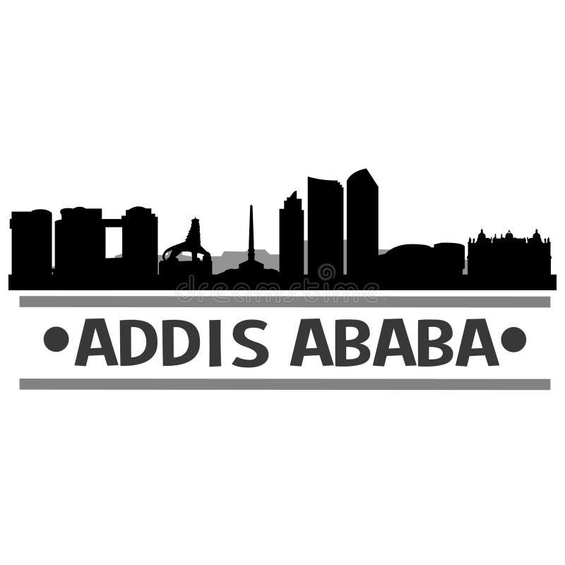 亚的斯亚贝巴埃塞俄比亚亚洲象传染媒介艺术设计地平线夜平的阴影 库存例证