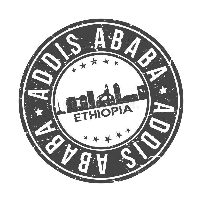 亚的斯亚贝巴埃塞俄比亚在周围非洲按钮城市地平线设计邮票传染媒介旅行旅游业 向量例证