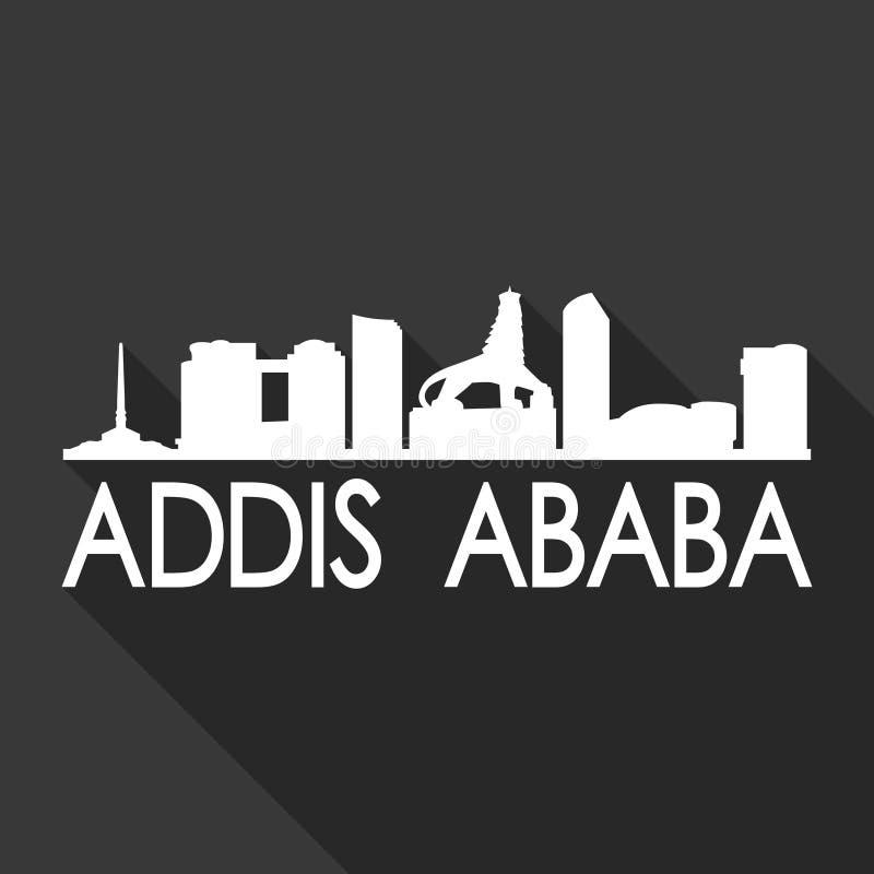 亚的斯亚贝巴埃塞俄比亚非洲象传染媒介艺术平的阴影设计地平线城市剪影模板黑色背景 库存例证