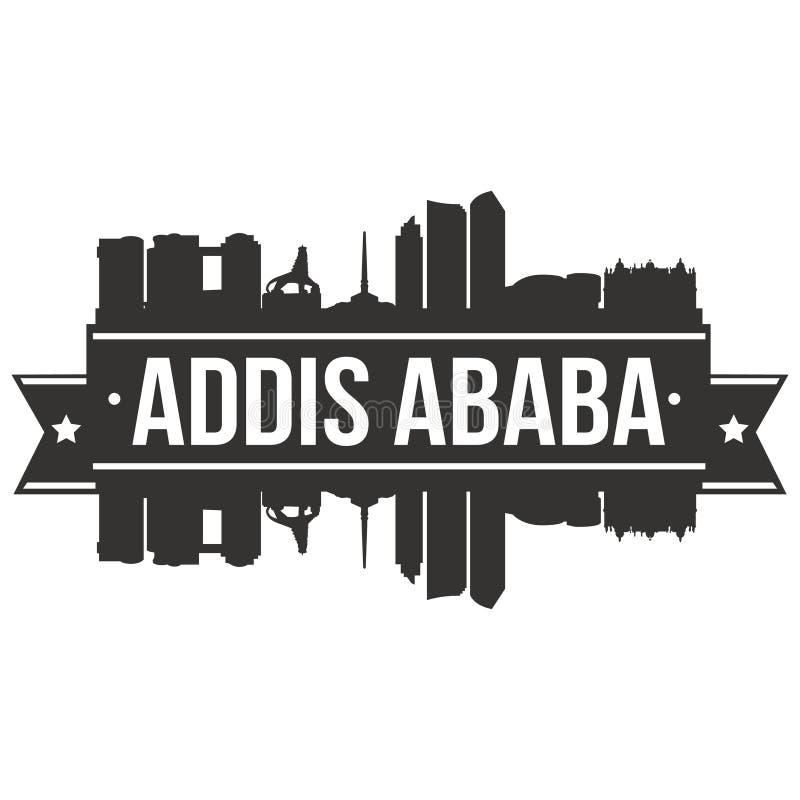 亚的斯亚贝巴埃塞俄比亚非洲象传染媒介艺术设计地平线平的城市剪影编辑可能的模板 库存例证