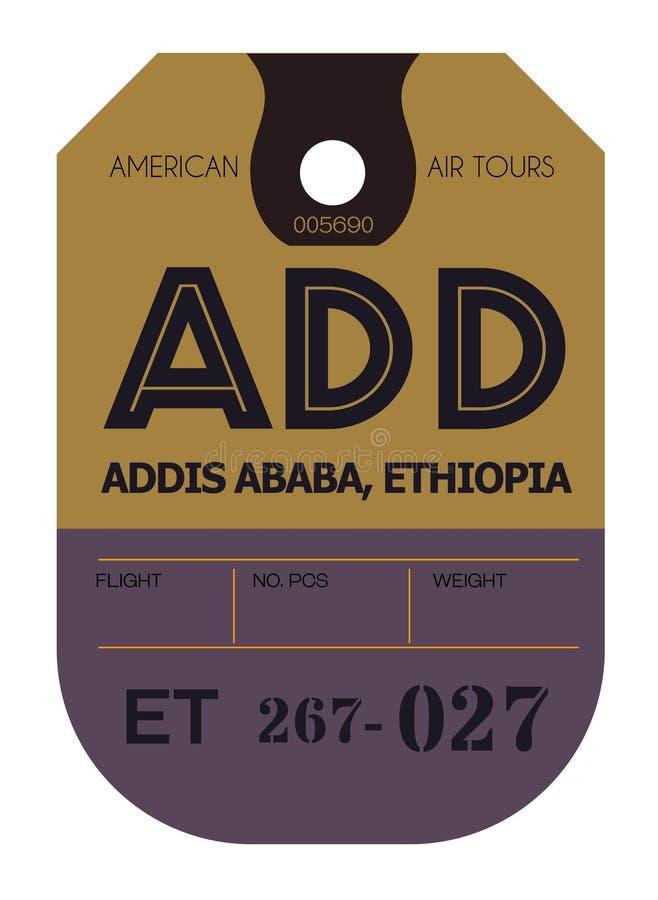 亚的斯亚贝巴机场行李标记 向量例证