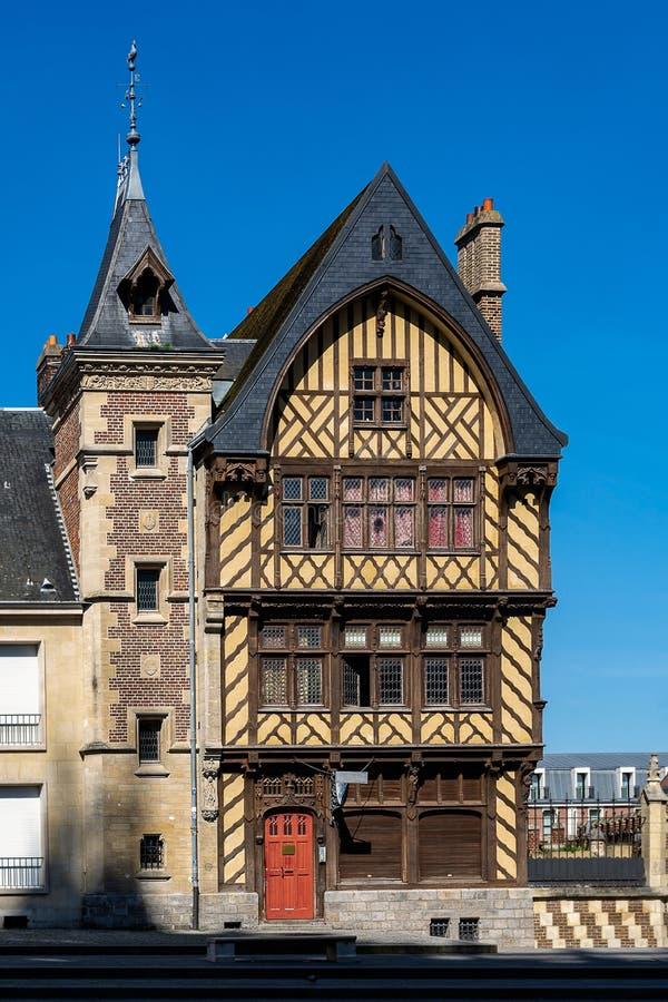 亚眠中世纪房子在皮卡第法国 库存照片
