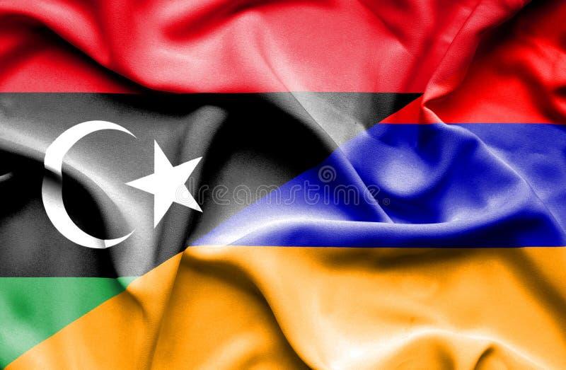 亚美尼亚和利比亚的挥动的旗子 向量例证