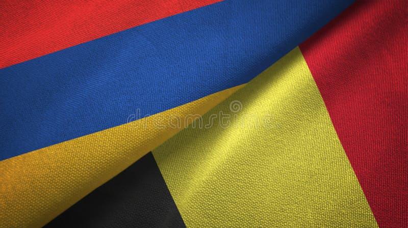 亚美尼亚和比利时两旗子纺织品布料,织品纹理 向量例证
