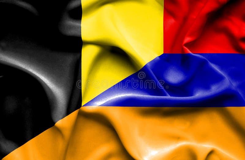 亚美尼亚和比利时的挥动的旗子 皇族释放例证