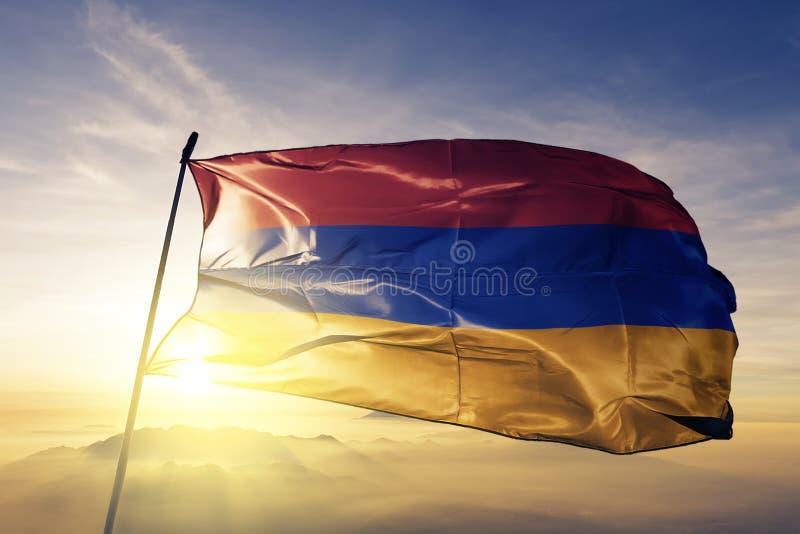 亚美尼亚国旗纺织品挥动在上面的布料织品 库存例证