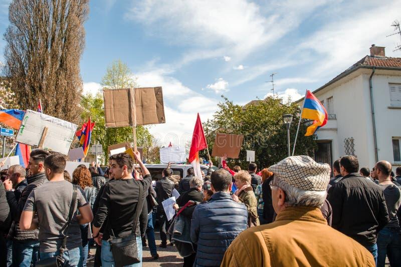 亚美尼亚犹太人散居地抗议阿塞拜疆使馆外 库存图片