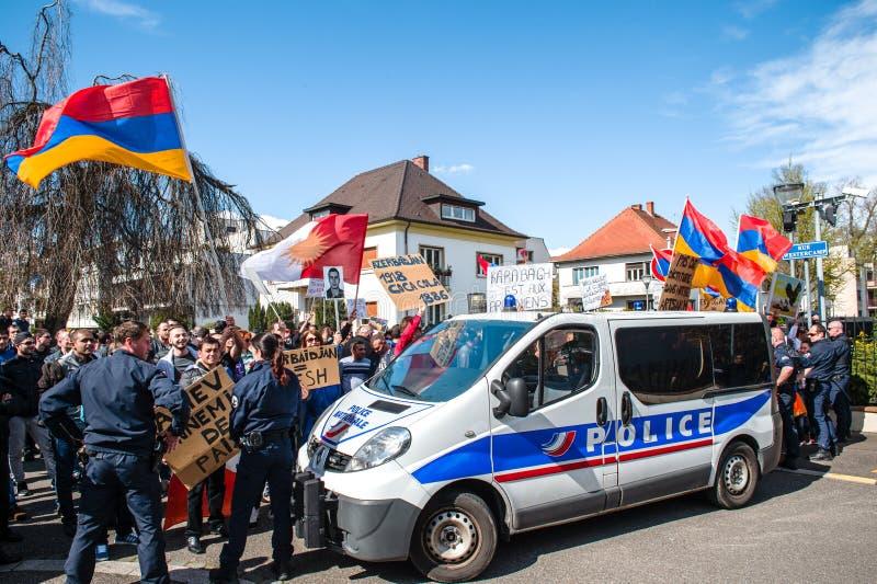 亚美尼亚犹太人散居地抗议阿塞拜疆使馆外 免版税库存照片