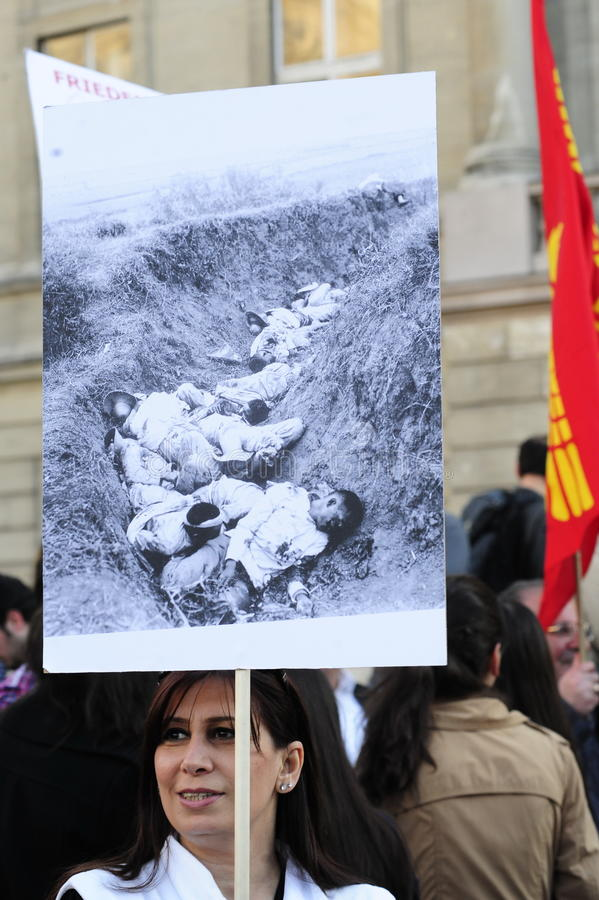 亚美尼亚种族灭绝周年示范在维也纳 库存照片