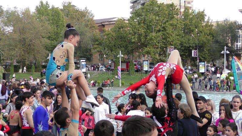 亚美尼亚,杂技在耶烈万 免版税库存图片