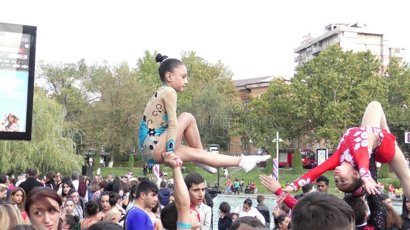 亚美尼亚,杂技在耶烈万 库存照片