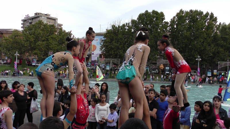 亚美尼亚,杂技在耶烈万 图库摄影