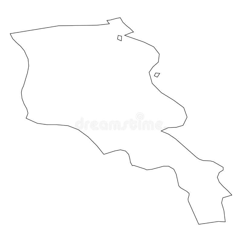 亚美尼亚-国家区域坚实黑概述边界地图  简单的平的传染媒介例证 皇族释放例证
