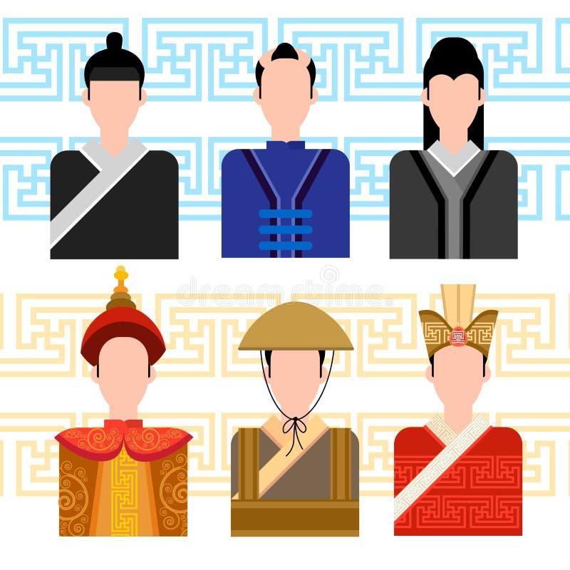 亚裔人,中国男性外形象集合社会网络 皇族释放例证