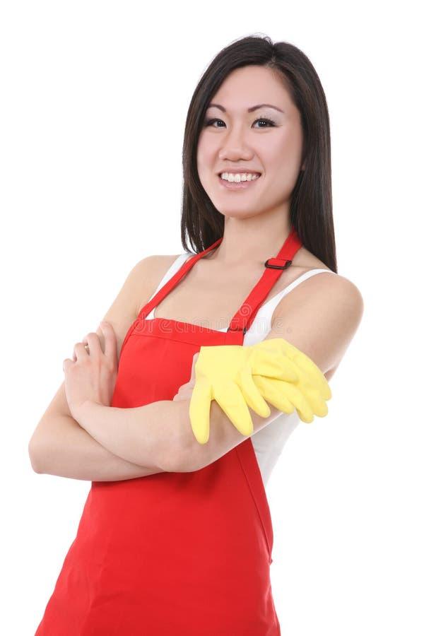 亚裔佣人妇女 免版税库存照片