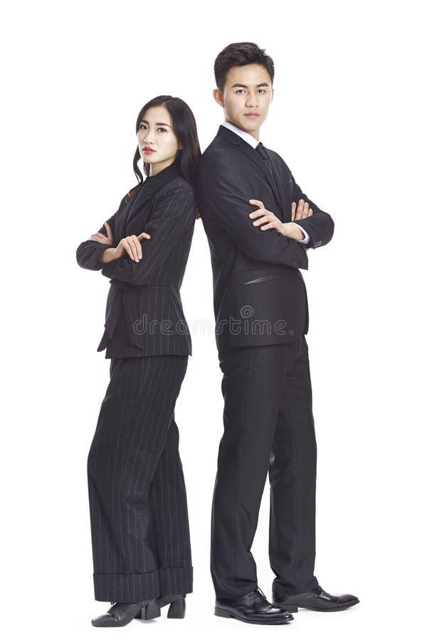 亚裔公司男人和妇女画象  免版税库存照片