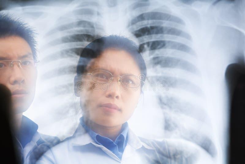 亚裔医生检查的结果二X-射线 免版税图库摄影