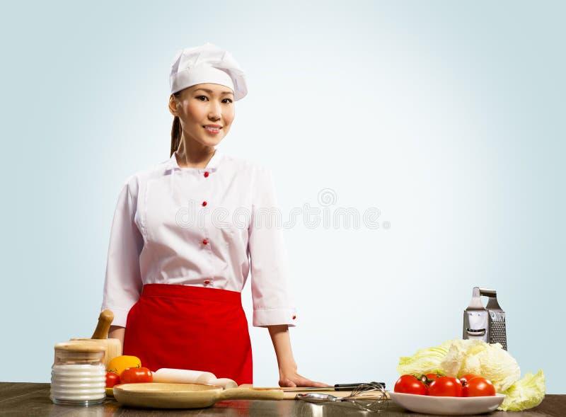 亚裔厨师画象  免版税库存照片
