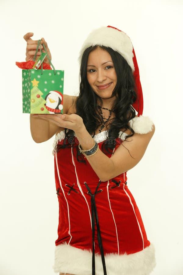 亚裔圣诞节女孩 面孔,礼服 免版税库存图片